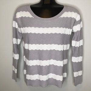 American Eagle grey lace striped cotton lightweight knit long sleeve sweater M